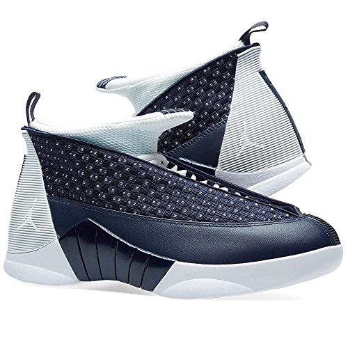 Nike AIR JORDAN 15 RETRO Herren Fashion-Sneaker 881429 Obsidian, Weißmetallic-Silber