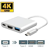 USB Type C to HDMI USB Type C Adapter, HuiHeng USB 3.1 Type C USB C 4K HDMI Digital AV Multiport Adapter for MacBook, Chromebook Pixel and More Type C Laptops