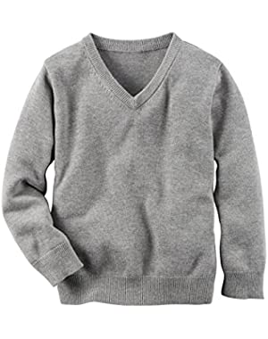 Carter's Boys' Long-Sleeve V-Neck Grey Sweater