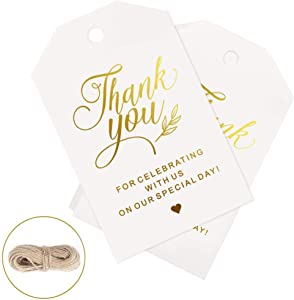 100pcs Thank You Tags for Favors, Gold Gift Tags for Baby Shower, Wedding, Party Favors with 100 Feet Natural Jute Twine