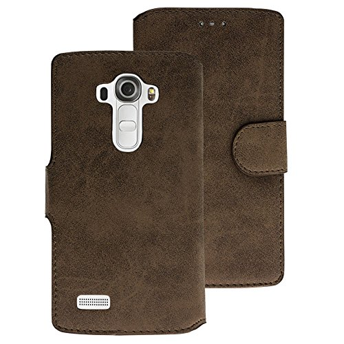 Handy Schutz Tasche Geldbeutel Hülle Flip Case Etui Wallet Cover LG G4 Braun