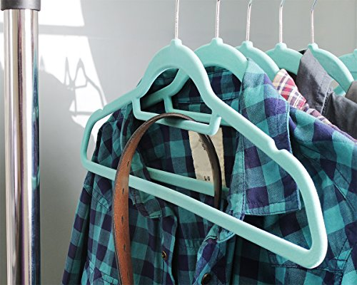 Teal Velvet Hangers with Accessory Bar - Perfect for Shirts, Dresses, and Delicate Clothing - Non-Slip Velvety Smooth Texture - Slim Space Saving Design- 50 Pack Set with Pink Bonus Hanger!- 18 Inches