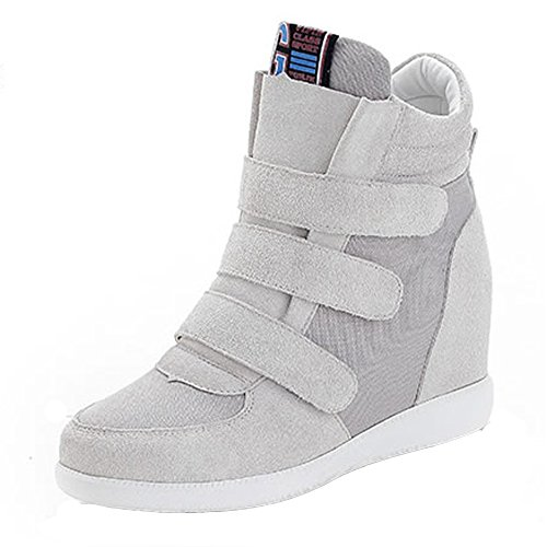 VECJUNIA Womens Velcro High Top Concealed Wedge Chunky Casual Trainers Gary 3PfUfl