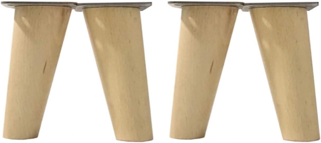 patas para muebles madera haya. Patas cónicas con inclinación, y placa de montaje ya instaladas. Color natural (10 cm natural)