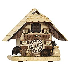 Hermle BENDORF Tabletop Quartz Cuckoo Clock with Two Carved Bears 66000 Trenkle Uhren