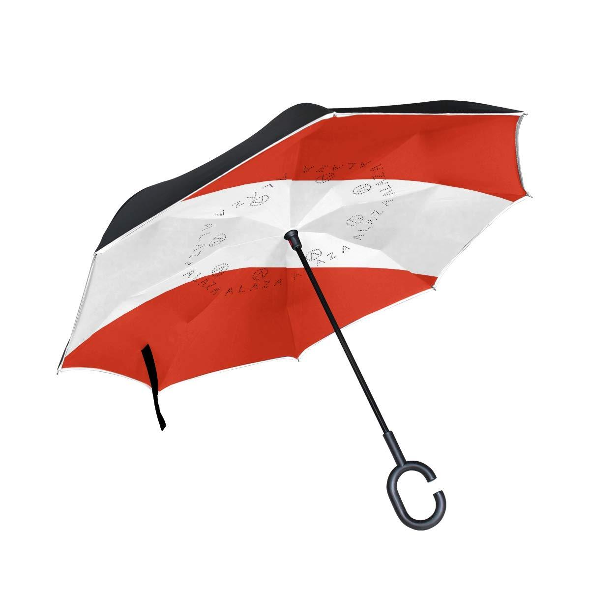 Chinein ダブルレイヤー 反転傘 逆折りたたみ傘 防風 UV保護 車 オーストリア国旗用   B07G9JZDML