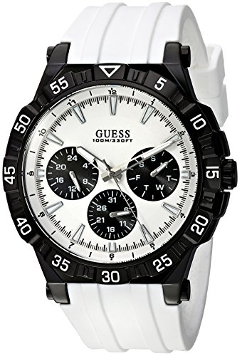 GUESS Men's Quartz Stainless Steel and Silicone Casual Watch, Color:White (Model: U0966G3)