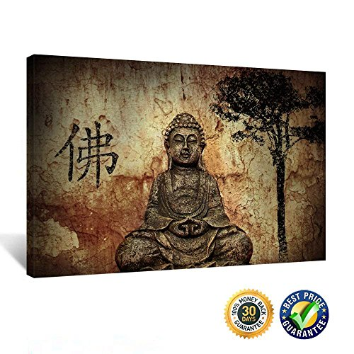 Kreative Arts Gallery Wrap Canvas Prints Vintage Religion Buddha Picture Wall Painting Home Decorative Art Prints Ready to Hang 20x30inch - 20' Buddha Statue