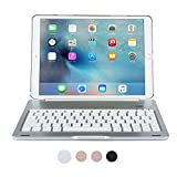 iPad Pro 10.5 Keyboard case, COOPER NOTEKEE F8S Backlit LED Bluetooth Wireless Rechargeable Keyboard Portable Laptop Macbook Clamshell Clamcase Cover with 7 Backlight Colors (Silver)