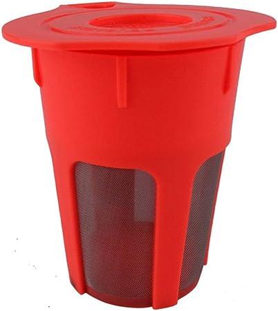 Filtro Reutilizable café, plástico Cafetera de Filtro con Malla de Acero Inoxidable, de 400 ml, Rojo, 1Pcs: Amazon.es: Hogar