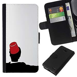 NEECELL GIFT forCITY // Billetera de cuero Caso Cubierta de protección Carcasa / Leather Wallet Case for LG OPTIMUS L90 // Marruecos Fez Marrakech Sombrero Tarboosh