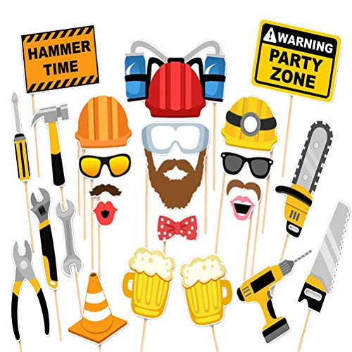 (Amosfun Construction Excavator Photo Booth Props Kit Building Engineer Theme Birthday Party Cosplay Tool Masquerade Favors)