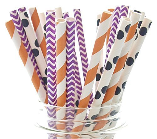 Halloween Straws (25 Pack) - Orange, Black & Purple Chevron, Stripe, Polka Dot October Trick or Treat Party Paper Straws (Halloween Party Mixer)