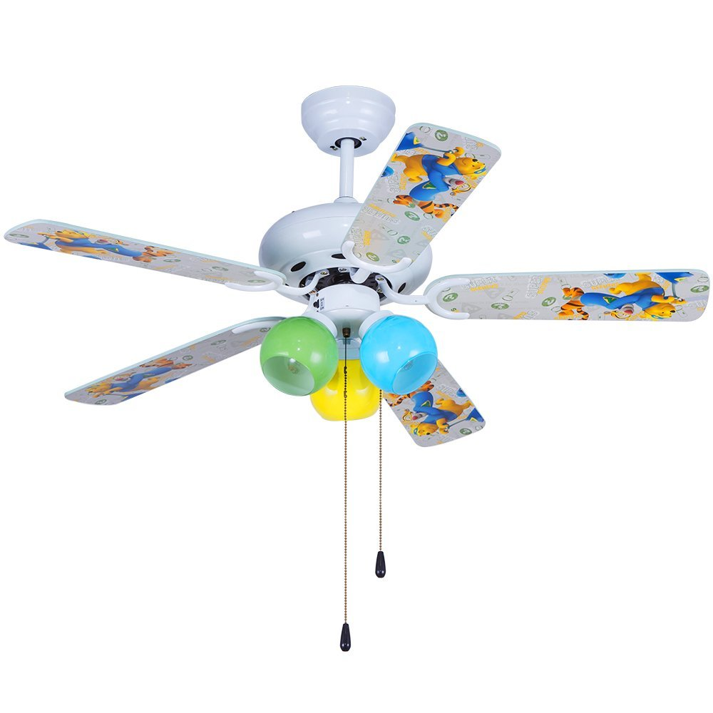 Andersonlight 42 inch Cartoon Child White Ceiling Fan Light 5 Fan Wood Blade 3 Light Rope Control Variable Speed Motor Multicolor Glass Lamp Cover Modern Quiet Health for Baby Room Children Room FS025