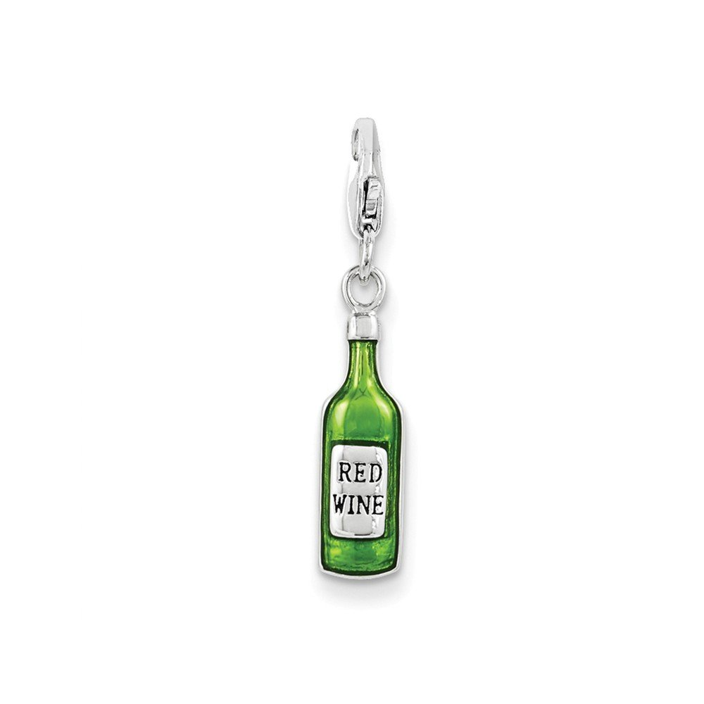 FB Jewels Solid Sterling Silver Rhodium Enameled Bottle W//Lobster Clasp Charm