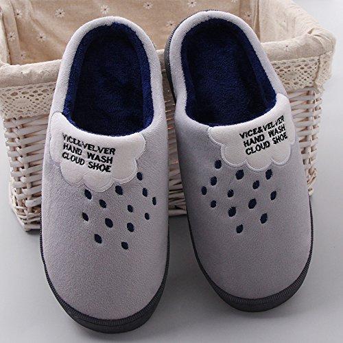 Fankou spesse pantofole di cotone cotone femmina pantofole tacco alto pendenza con autunno e inverno è un antiscivolo bella capelli ,35-36, grigio