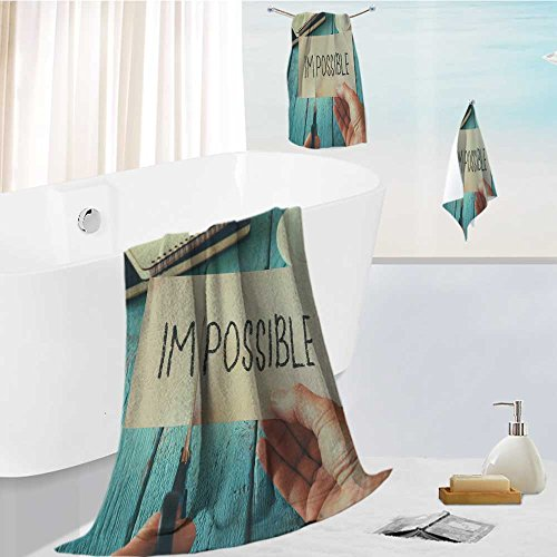 SCOCICI1588 Bath towel set Spa 3D Digital Printing man hand holding card with the text impossible cutting the word im so it written possible success Friendly Non Toxic