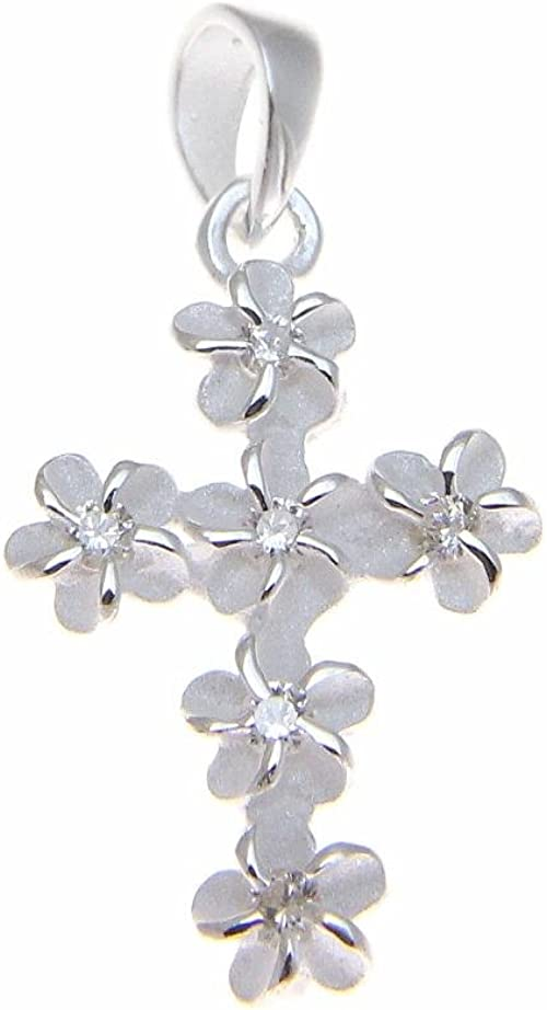 Glitzs Jewels 925 Sterling Silver Necklace Jewelry Gift for Women and Girls Plumeria /& Butterfly