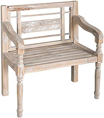 elbmöbel - Banco de madera con respaldo para jardín, color blanco ...