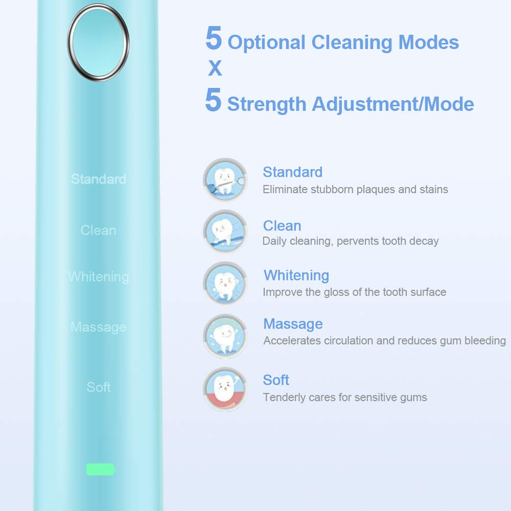 Sonic Toothbrush, Rechargeable Sonic Electronic Toothbrush, 5 Working Modes IPX8 Waterproof for Shower, 6 Hours Charge Available for 100 Days Use