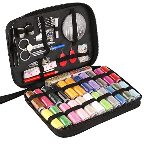 PEDY Sewing Kit, DIY Sewing Supplies with 98 Sewing Accessories, Portable Mini Sewing Kit for Beginner, Traveller and Emergency Clothing Fixes, with Premium Black Carrying Case
