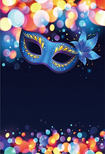 LFEEY 8x10ft Blue Masquerade Mask Backdrop Bokeh Dots Carnival Background for Photography Vinyl Halloween Party Costume Ball Poster Photo Booth Props