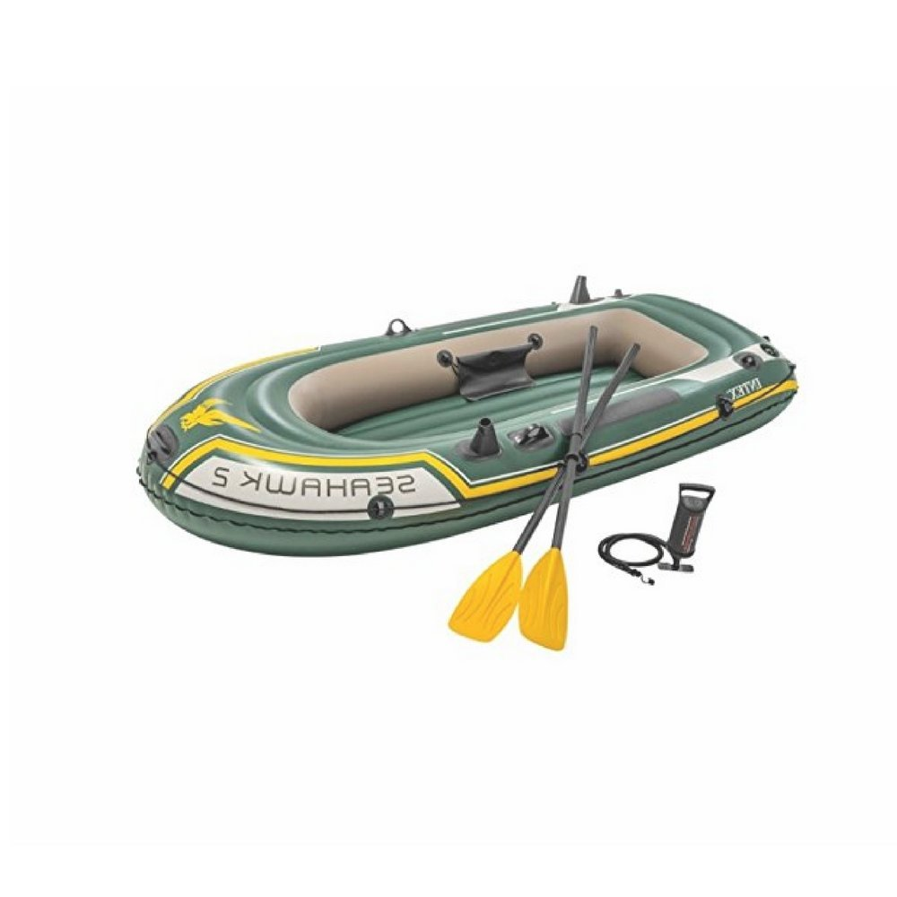 Ix Emergency Inflatable Boat, Vinyl Material, Green/Yellow Color, Oars And Air Pump Included, Ideal For 2 Adults, Repair Patch, Comfortable And Safe & E-Book Home Decor