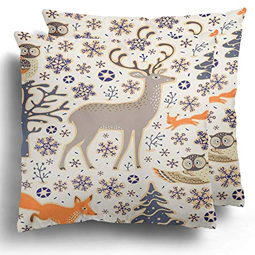 Throw Pillow Covers 2 Pack Christmas Winter Forest Owls Deer Fox Squirrel Birds Trees and Snowflakes Woodland Cushion Case Polyester Square Cover Home Decor 18 x 18 Inches (Woodland Bird Bath Squirrel)
