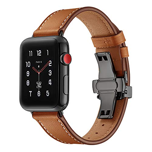 Price comparison product image BONSTRAP Compatible with Iwatch Band 42mm 44mm Leather Watch Band with Black Buckle