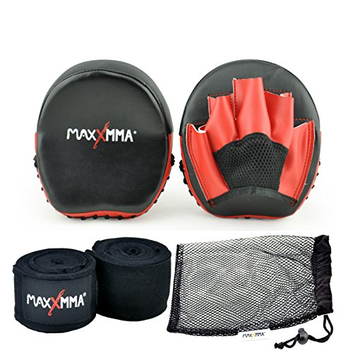 "MaxxMMA Micro Punch Mitts + 180"" Nylon/Poly Hang Wrap (Black) + Washable Mesh Bag"
