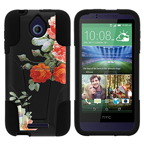 HTC Desire 510 Case, Dual Layer Shell STRIKE Impact Kickstand Case with Unique Graphic Images for HTC Desire 510 by MINITURTLE - Romatic Flowers