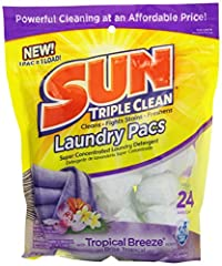 Get powerful cleaning, fight tough stains, and freshen your clothes with Sun Triple Clean Laundry Pacs. Sun Laundry Pacs are conveniently pre-measured to contain the right amount of powerful laundry detergent at a great value. Plus, the Tropi...