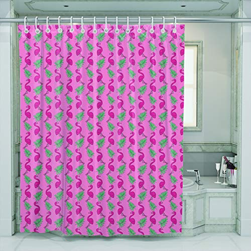 LINERON Shower Curtain with Hooks Modern Fashion Hand Drawn Summer Pink Flamingo Love Birds and Green Palm Leaf Waterproof Mildew Resistant Bathroom Fabric Size 72 x 72 inches
