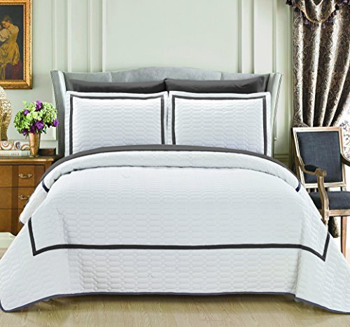 Chic Home 3 Piece Birmingham Hotel Collection 2 Tone Banded Quilted Geometrical Embroidered, Quilt Set , Queen, White