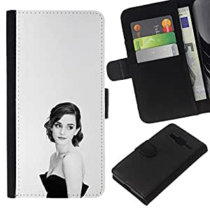 KLONGSHOP // Tirón de la caja Cartera de cuero con ranuras para tarjetas - Mujer Elegante - Samsung Galaxy Core Prime //
