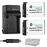 Powerextra 2 Pack Replacement Canon LP-E17 Battery With Charger for Canon EOS M3, EOS Rebel T6i, EOS Rebel T6s, EOS 750D, EOS 760D, EOS 8000D, Kiss X8i (Free MicroFiber Cleaning Cloth + Car Charger)