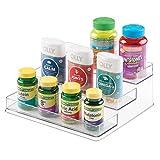 mDesign Plastic Storage Organizer Cabinet Shelf Rack Holder for Vitamins, Supplements, Medicine Pill Bottles, Health Supplies - 3 Tier, Medium, Clear