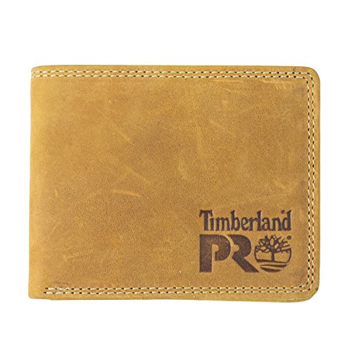 Timberland PRO Men's Slim Leather RFID Bifold Wallet with Back ID Window, wheat/Pullman, One Size
