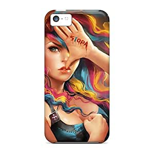 Hot Snap-on Anime Young Woman Hard Cover Case/ Protective Case For Iphone 5c