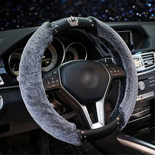 XiangTiao Winter Plush Steering Wheel Cover Diamond Crystal Swan Auto Fur Steering Wheel Covers Interior Accessories Women Girls Gray Crown