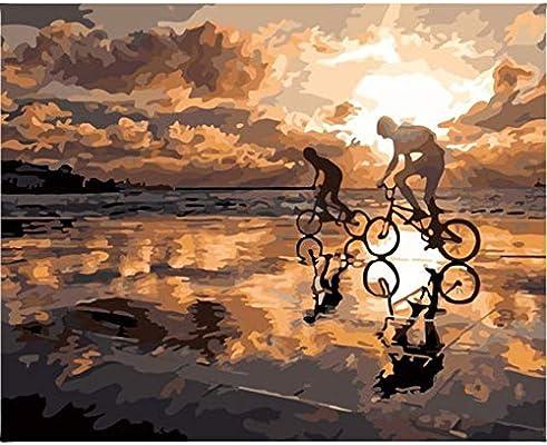 Hombre Paseo En Bicicleta Mar Playa Hermosa Puesta De Sol Paisaje ...