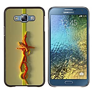 KLONGSHOP // Cubierta de piel con cierre a presión Shell trasero duro de goma Protección Caso - Líneas abstractas - Samsung Galaxy E7 E700 //