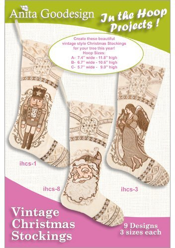 Stocking Embroidery Design (Anita Goodesign Embroidery Designs CD PJ's In the Hoop Vintage Christmas Stockings)