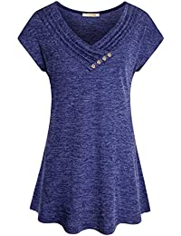 Women's Cross Cowl Neck Button Trim Flare Tunic Tops Soft...