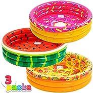 JOYIN Inflatable Kiddie Pool, Watermelon Donuts Pizza 3 Ring Summer Fun Swimming Pool for Kids, Water Pool Bab