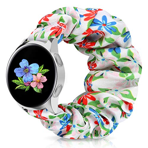 20mm Scrunchie Watch Band for Galaxy Watch Active/Active2 40mm/44mm, Floral Replacement Strap Compatible for Garmin Vivomove/Ticwatch/Pebble/Gear S2 Classic/Gear Sport (M Red-Blue-Pink Flower, 20mm L)