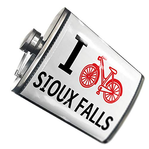 NEONBLOND Flask I Love Cycling City Sioux Falls Hip Flask PU Leather Stainless Steel Wrapped ()