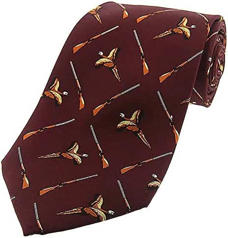 Wine Flying Pheasant and Shotgun Country Silk Tie by David Van Hagen