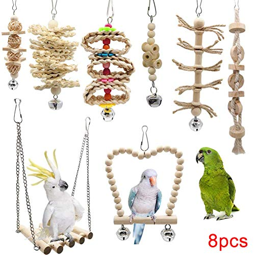 Foreen 8Pcs Wood Ball Bead Bells Rope Hanging Swing Cages Chew Bite Toy Bird Parrot Toys Pet Supplies 8pcs from Foreen