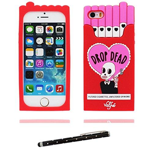 iPhone 5 Coque, [ 3D Boîte à cigarettes TPU Material Flexible ] Housse Étui pour iPhone 5C 5G, iPhone 5S Case, Crâne Dust Slip Scratch Resistant, iPhone SE Cover shell et stylet